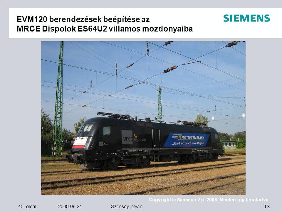 EVM120 berendezések beépítése az MRCE Dispolok ES64U2 villamos mozdonyaiba