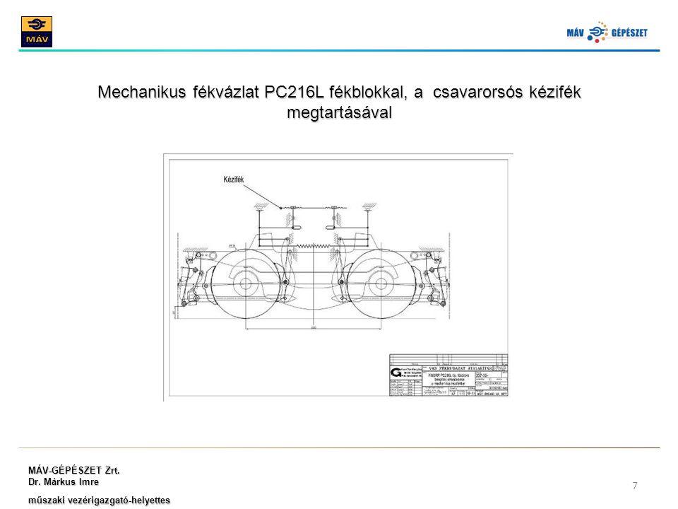Mechanikus fékvázlat PC216L fékblokkal, a csavarorsós kézifék megtartásával