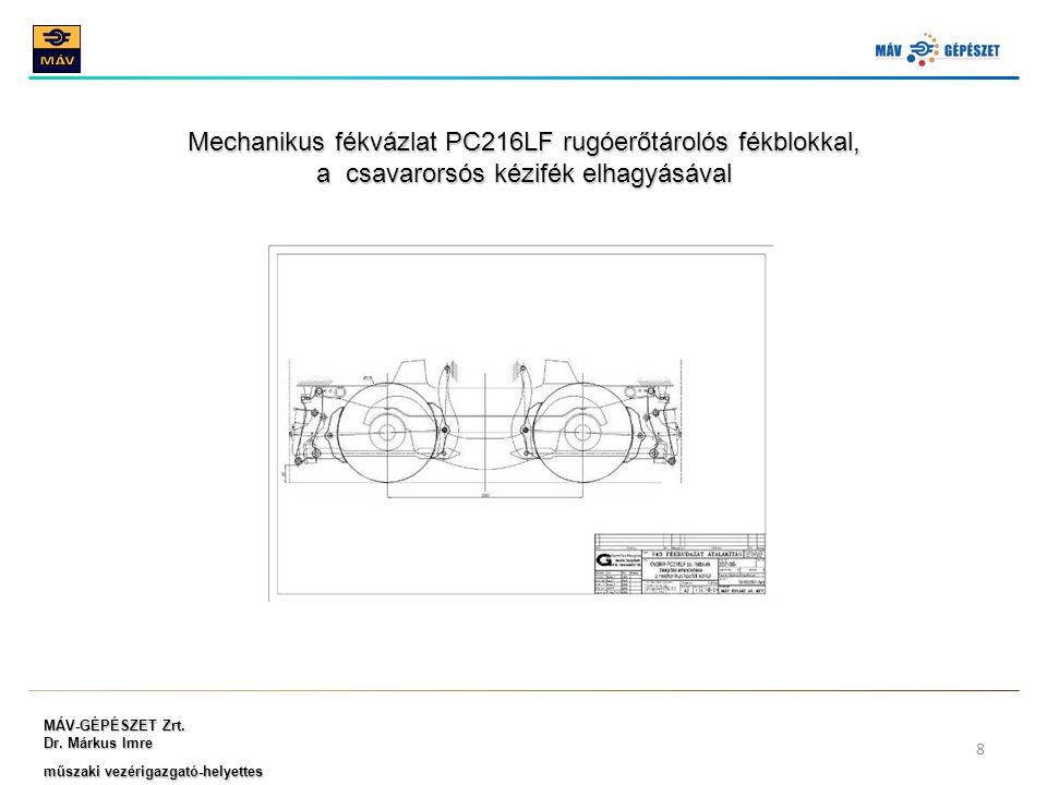 Mechanikus fékvázlat PC216LF rugóerőtárolós fékblokkal,