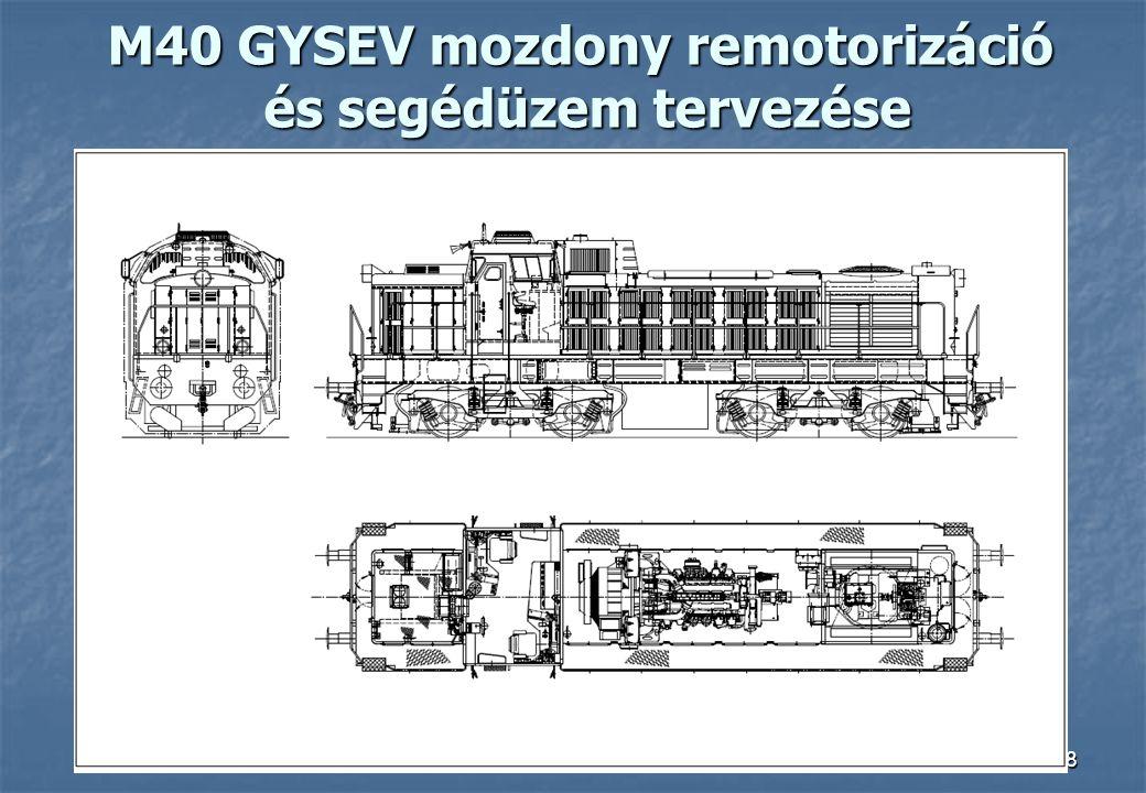 M40 GYSEV mozdony remotorizáció és segédüzem tervezése