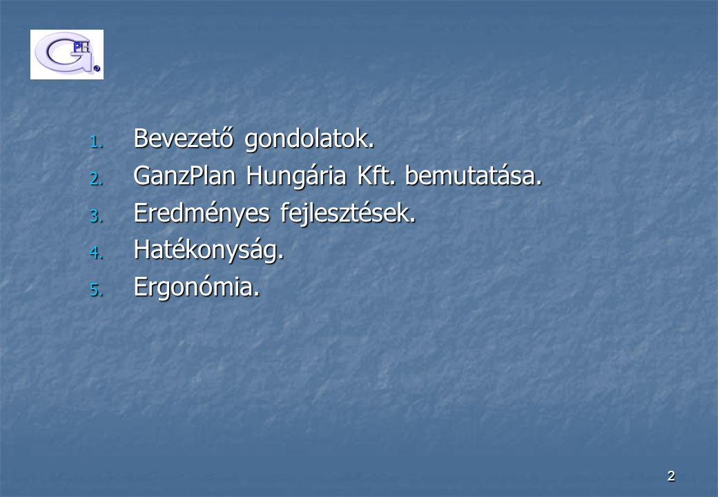 Bevezető gondolatok. GanzPlan Hungária Kft. bemutatása.