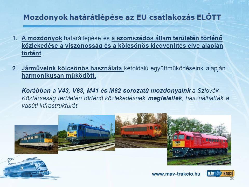 Mozdonyok határátlépése az EU csatlakozás ELŐTT