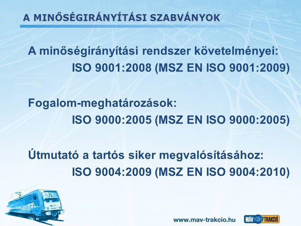 A minőségirányítási rendszer követelményei: