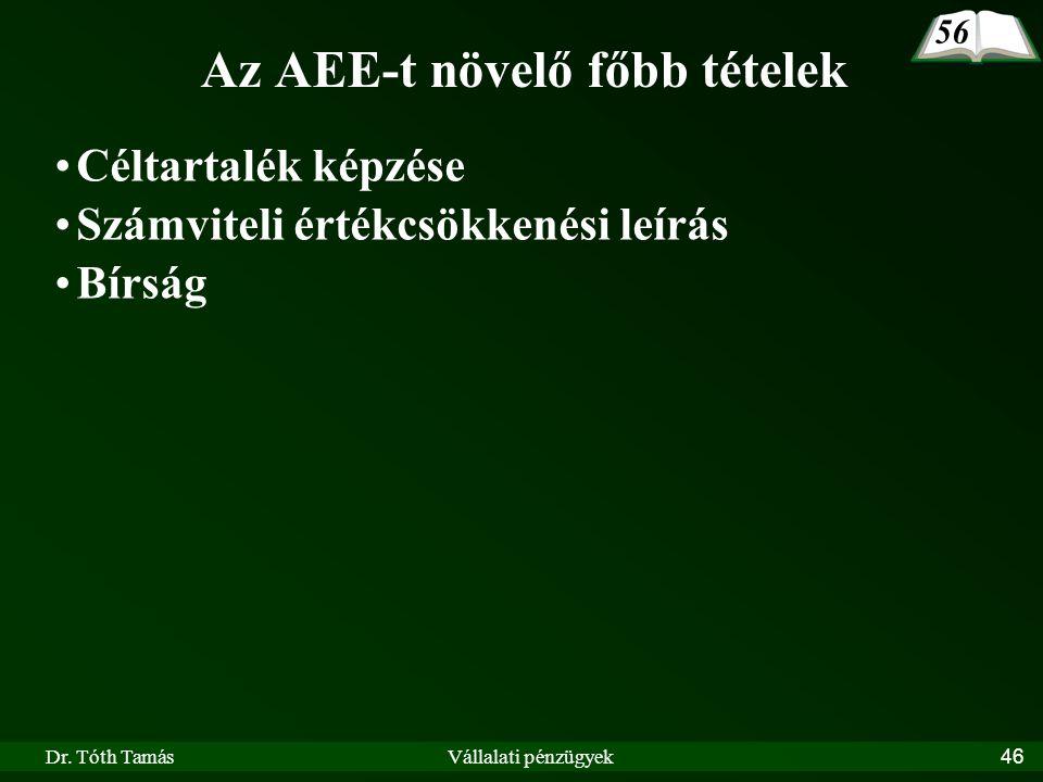 Az AEE-t növelő főbb tételek