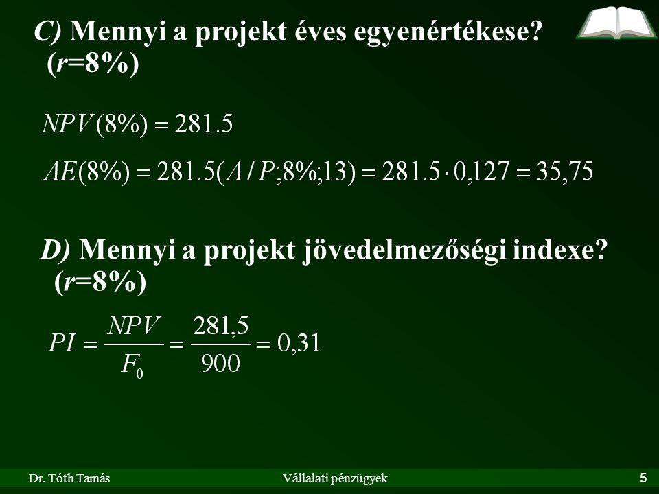 C) Mennyi a projekt éves egyenértékese (r=8%)