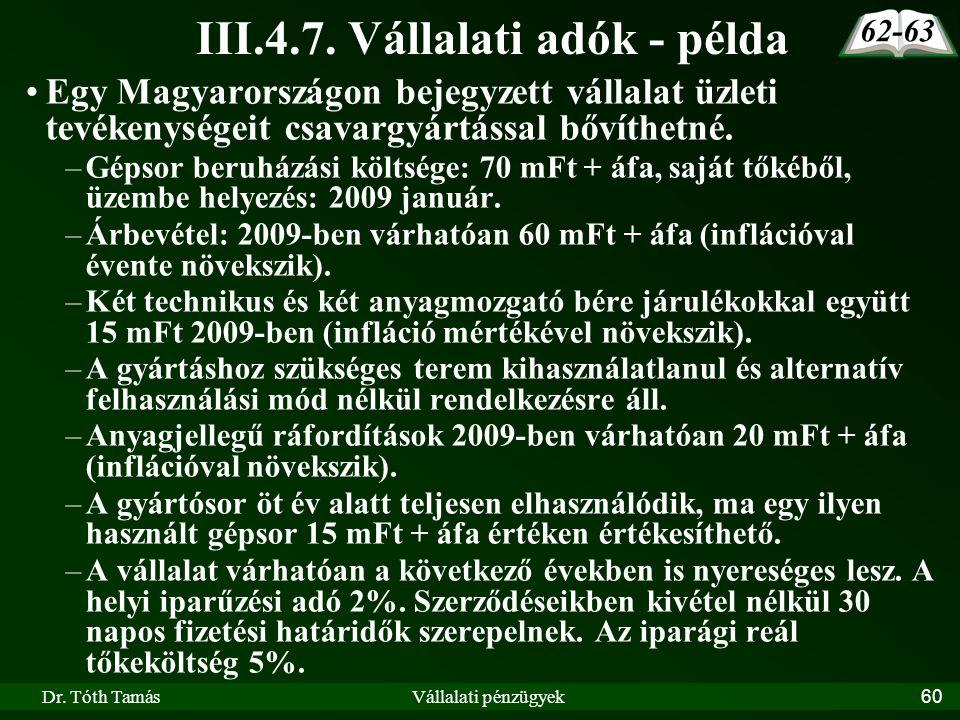III.4.7. Vállalati adók - példa