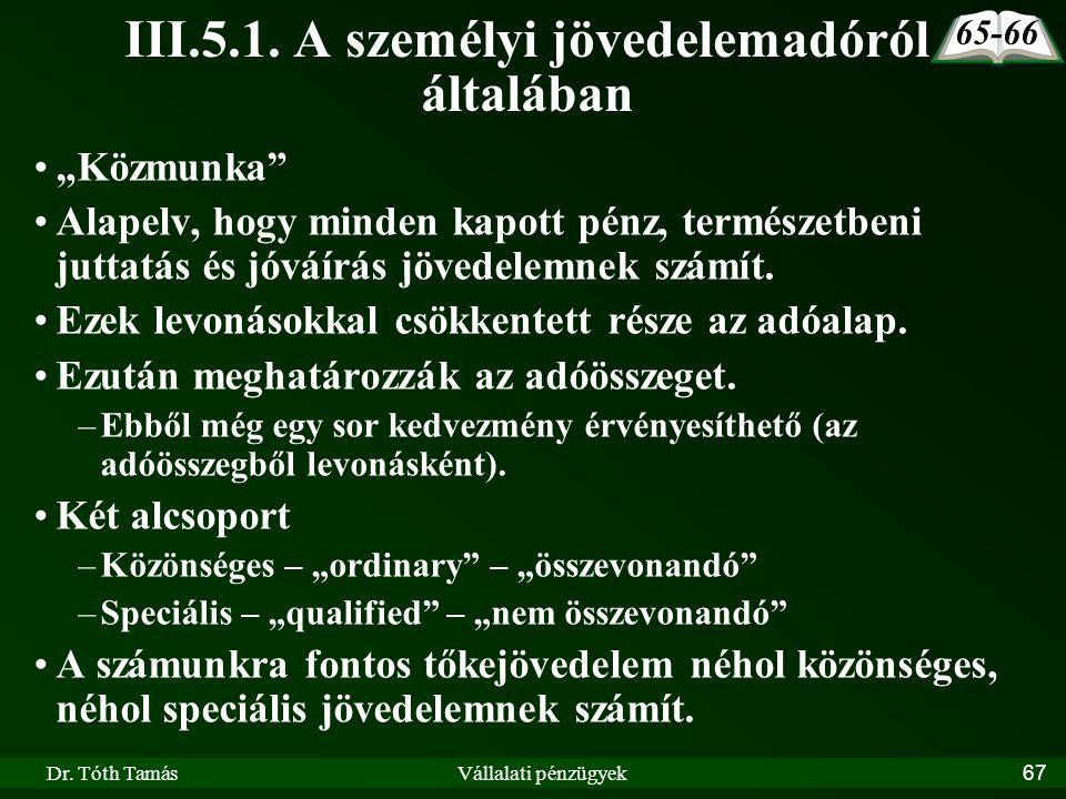 III.5.1. A személyi jövedelemadóról általában
