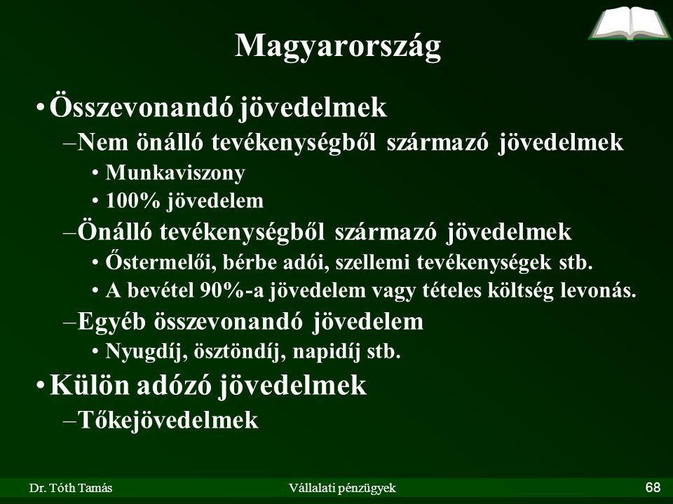 Magyarország Összevonandó jövedelmek Külön adózó jövedelmek