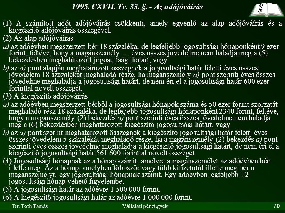 1995. CXVII. Tv. 33. §. - Az adójóváírás