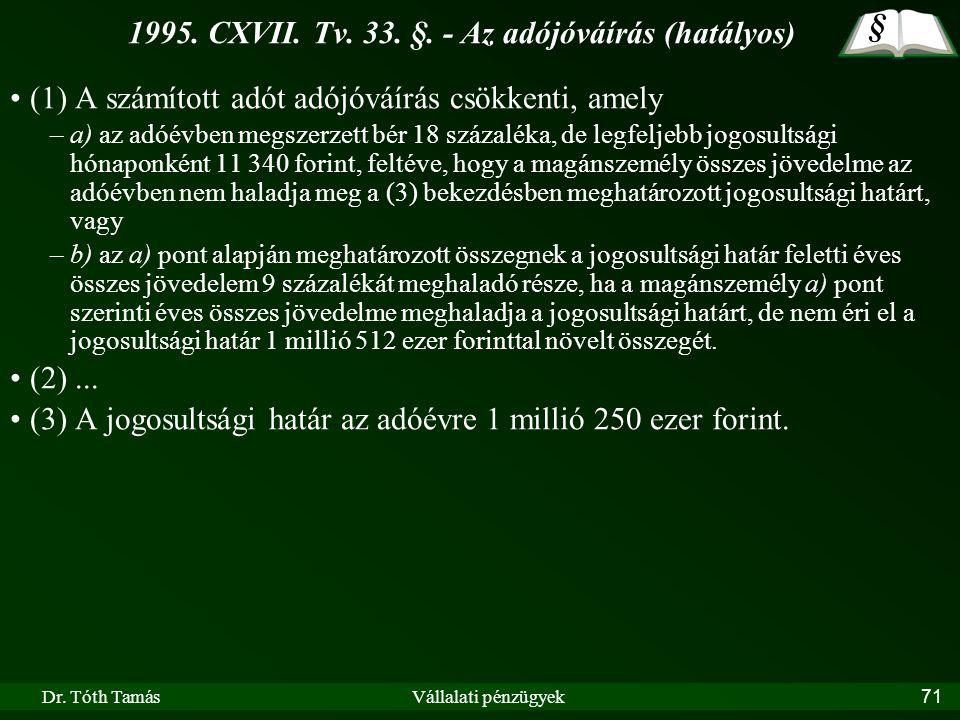 1995. CXVII. Tv. 33. §. - Az adójóváírás (hatályos)