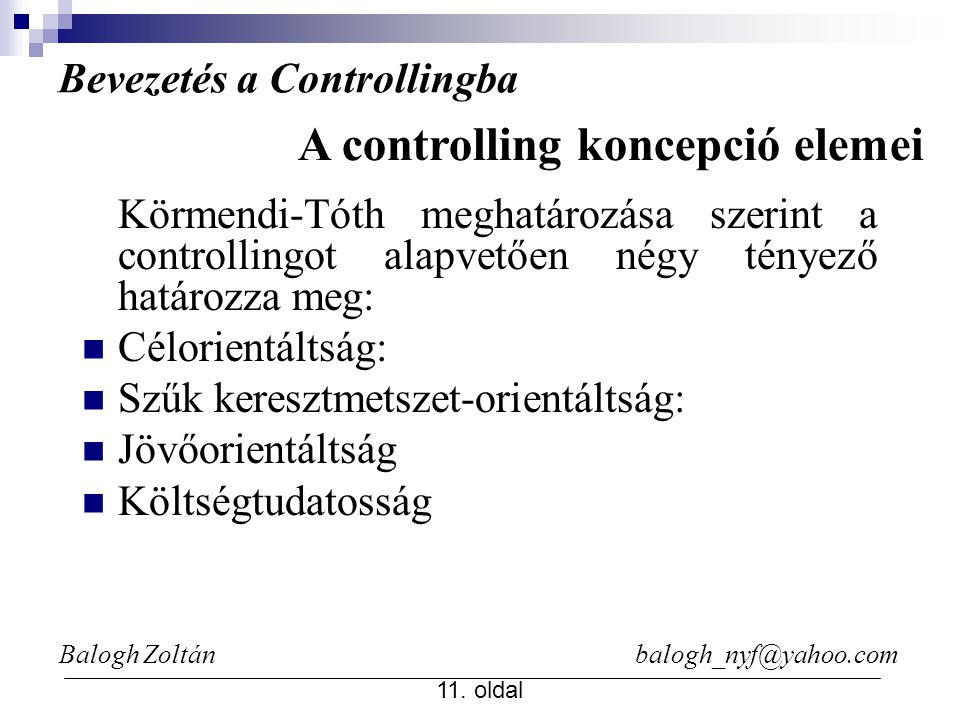 A controlling koncepció elemei