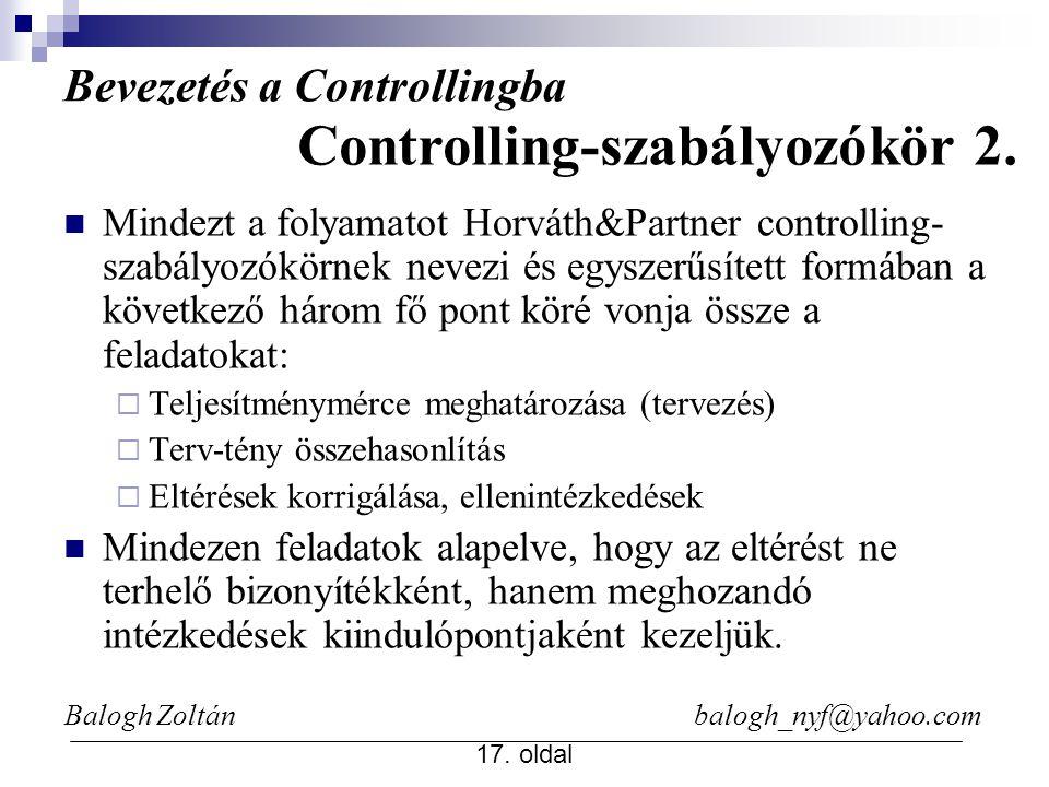 Bevezetés a Controllingba