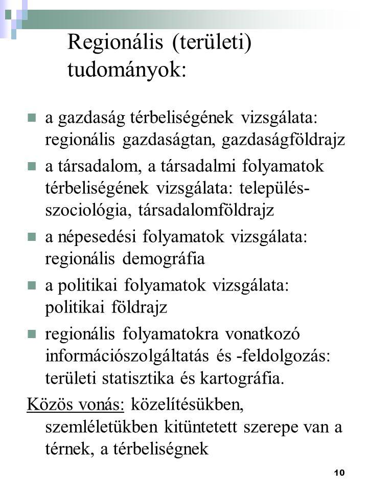 Regionális (területi) tudományok: