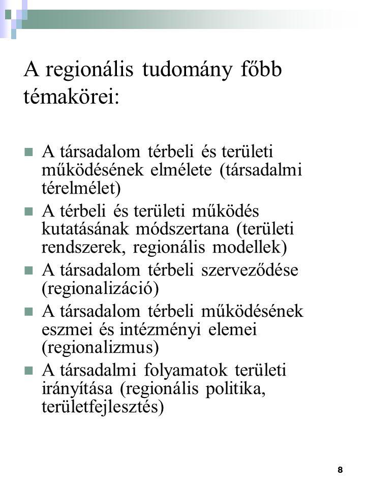 A regionális tudomány főbb témakörei: