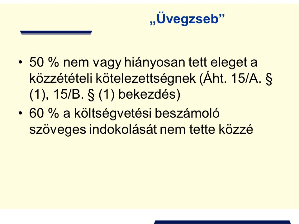 """""""Üvegzseb 50 % nem vagy hiányosan tett eleget a közzétételi kötelezettségnek (Áht. 15/A. § (1), 15/B. § (1) bekezdés)"""