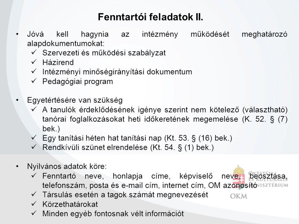 Fenntartói feladatok II.