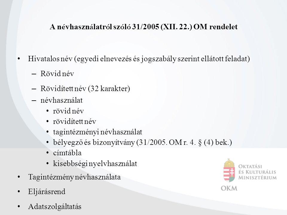 A névhasználatról szóló 31/2005 (XII. 22.) OM rendelet