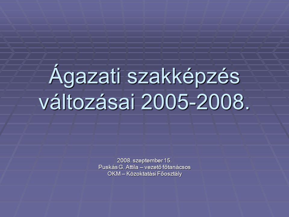 Ágazati szakképzés változásai 2005-2008.
