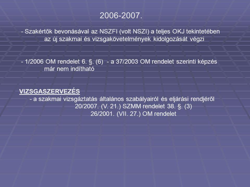 2006-2007. - Szakértők bevonásával az NSZFI (volt NSZI) a teljes OKJ tekintetében az új szakmai és vizsgakövetelmények kidolgozását végzi.