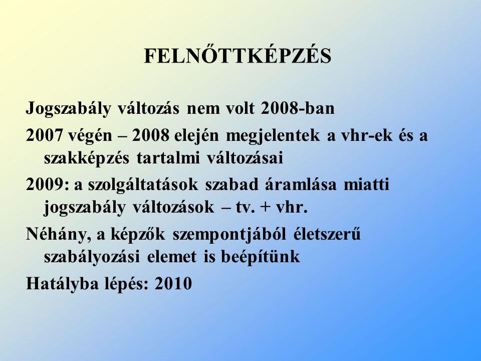 FELNŐTTKÉPZÉS Jogszabály változás nem volt 2008-ban