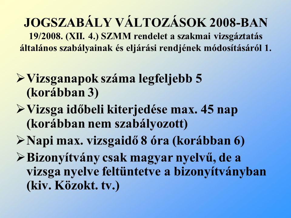 JOGSZABÁLY VÁLTOZÁSOK 2008-BAN 19/2008. (XII. 4