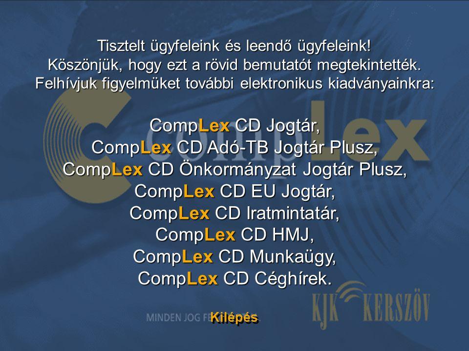 CompLex CD Adó-TB Jogtár Plusz, CompLex CD Önkormányzat Jogtár Plusz,
