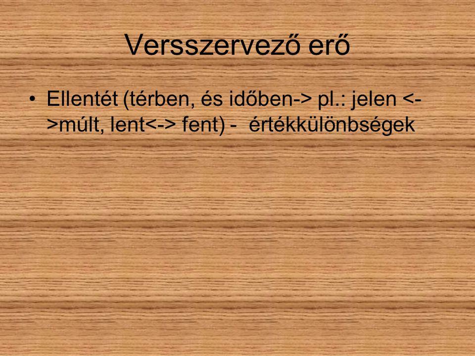 Versszervező erő Ellentét (térben, és időben-> pl.: jelen <->múlt, lent<-> fent) - értékkülönbségek.