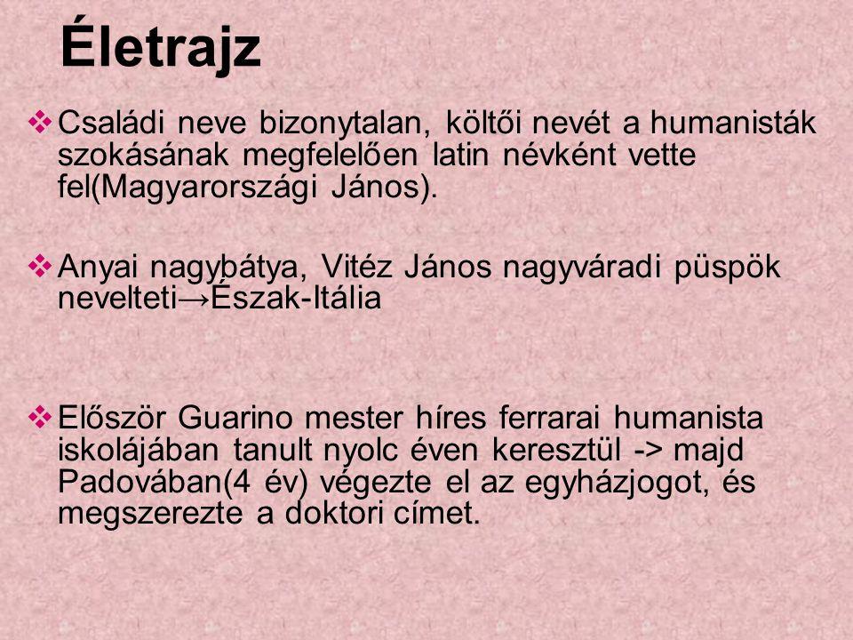 Életrajz Családi neve bizonytalan, költői nevét a humanisták szokásának megfelelően latin névként vette fel(Magyarországi János).