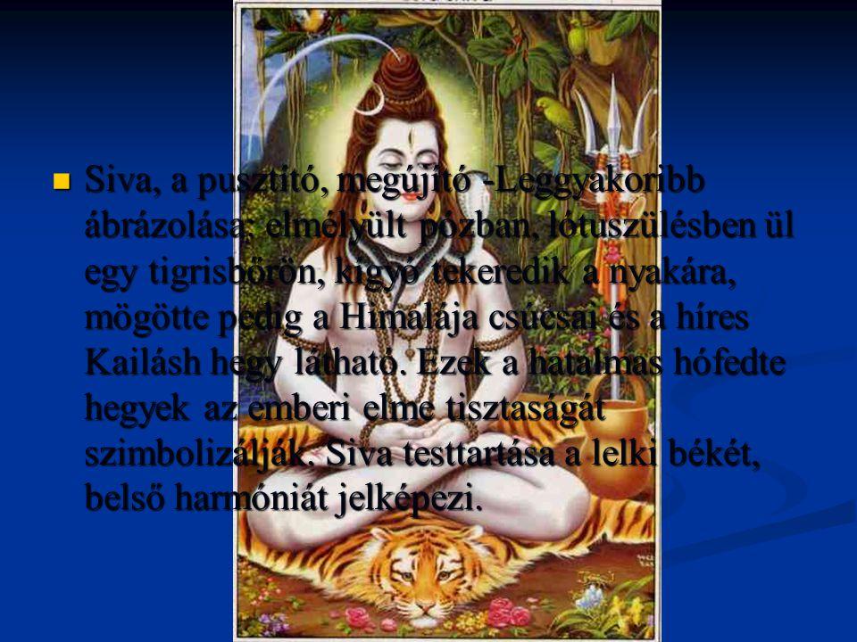 Siva, a pusztító, megújító -Leggyakoribb ábrázolása: elmélyült pózban, lótuszülésben ül egy tigrisbőrön, kígyó tekeredik a nyakára, mögötte pedig a Himalája csúcsai és a híres Kailásh hegy látható.