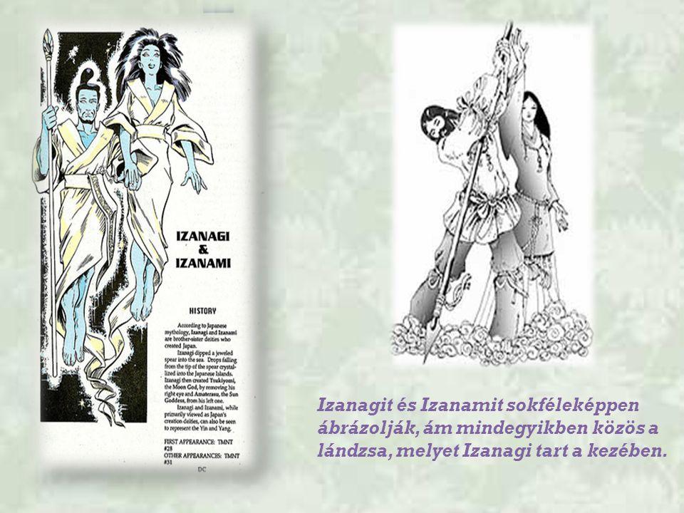 Izanagit és Izanamit sokféleképpen ábrázolják, ám mindegyikben közös a lándzsa, melyet Izanagi tart a kezében.