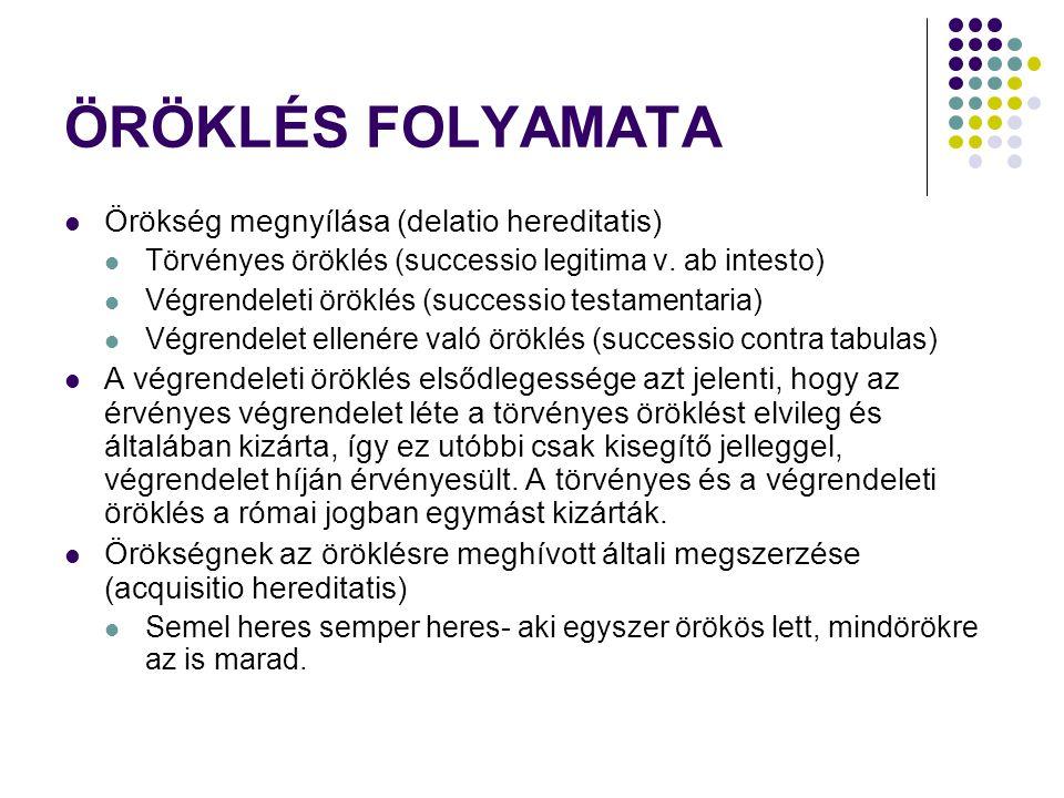 ÖRÖKLÉS FOLYAMATA Örökség megnyílása (delatio hereditatis)