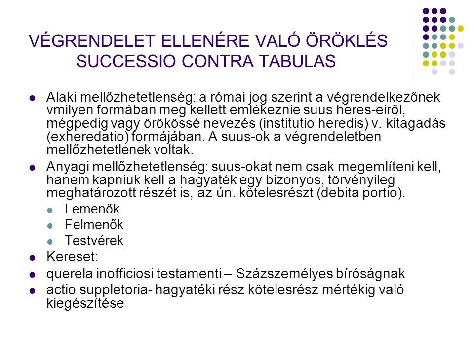 VÉGRENDELET ELLENÉRE VALÓ ÖRÖKLÉS SUCCESSIO CONTRA TABULAS