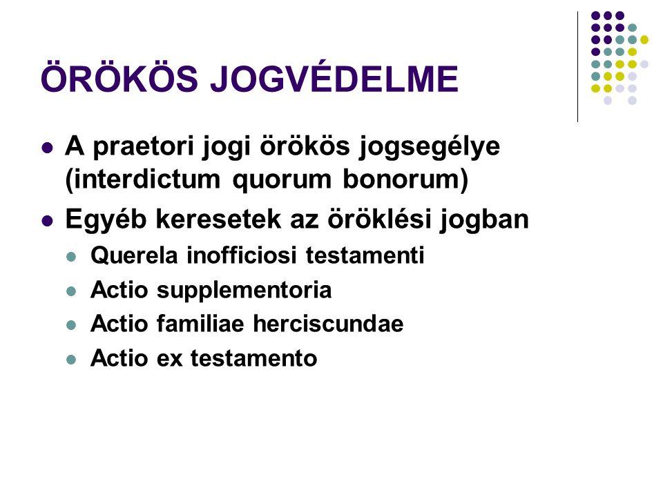 ÖRÖKÖS JOGVÉDELME A praetori jogi örökös jogsegélye (interdictum quorum bonorum) Egyéb keresetek az öröklési jogban.