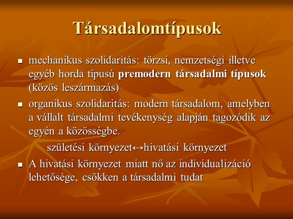 Társadalomtípusok mechanikus szolidaritás: törzsi, nemzetségi illetve egyéb horda típusú premodern társadalmi típusok (közös leszármazás)