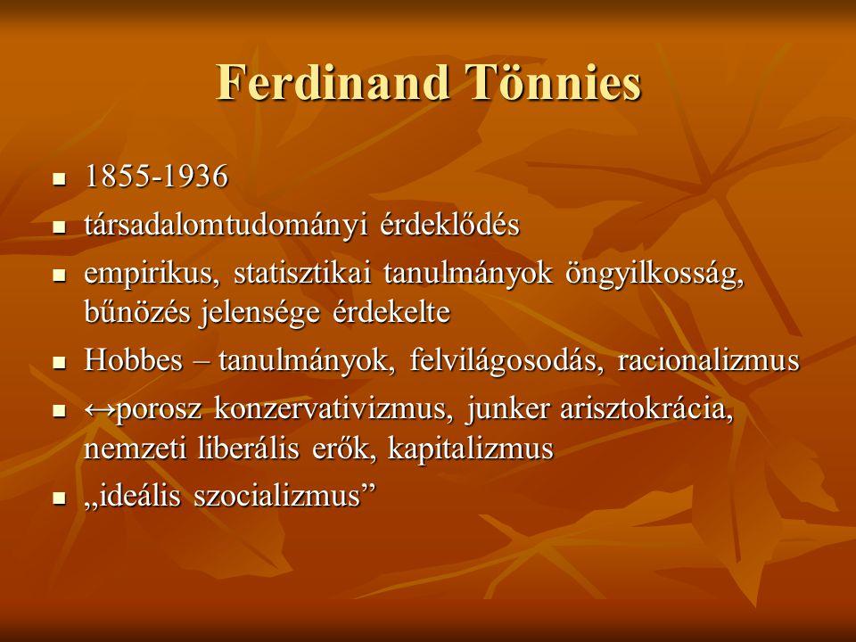 Ferdinand Tönnies 1855-1936 társadalomtudományi érdeklődés
