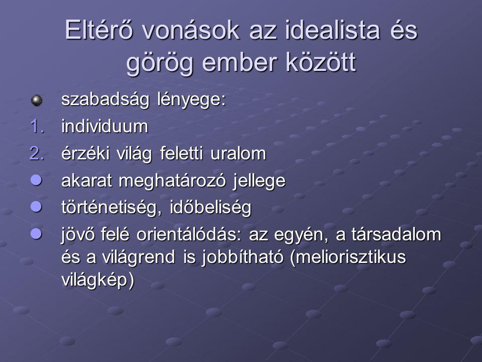 Eltérő vonások az idealista és görög ember között