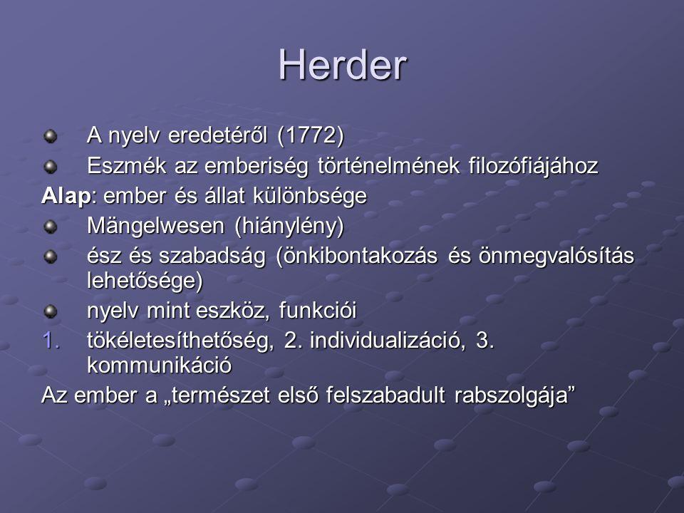 Herder A nyelv eredetéről (1772)