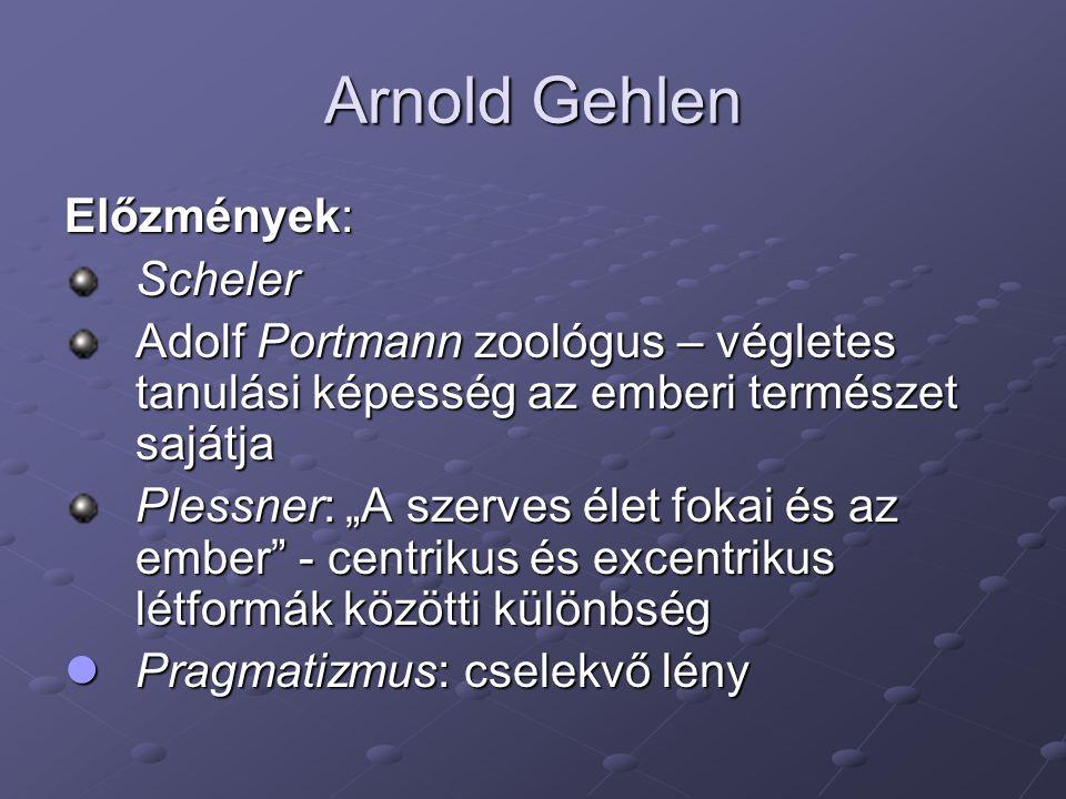 Arnold Gehlen Előzmények: Scheler