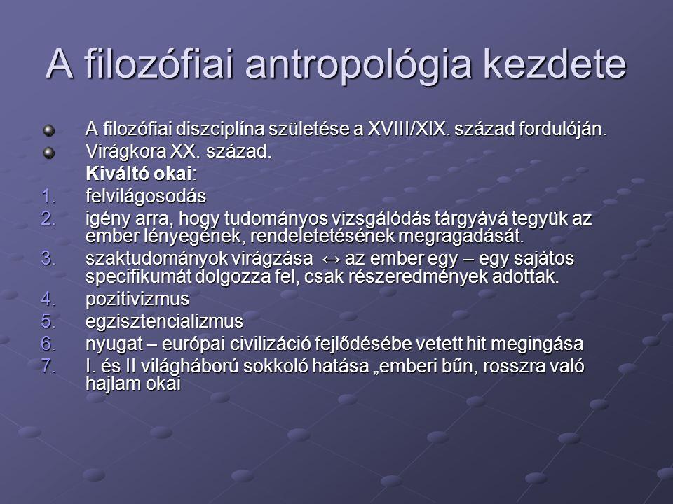 A filozófiai antropológia kezdete