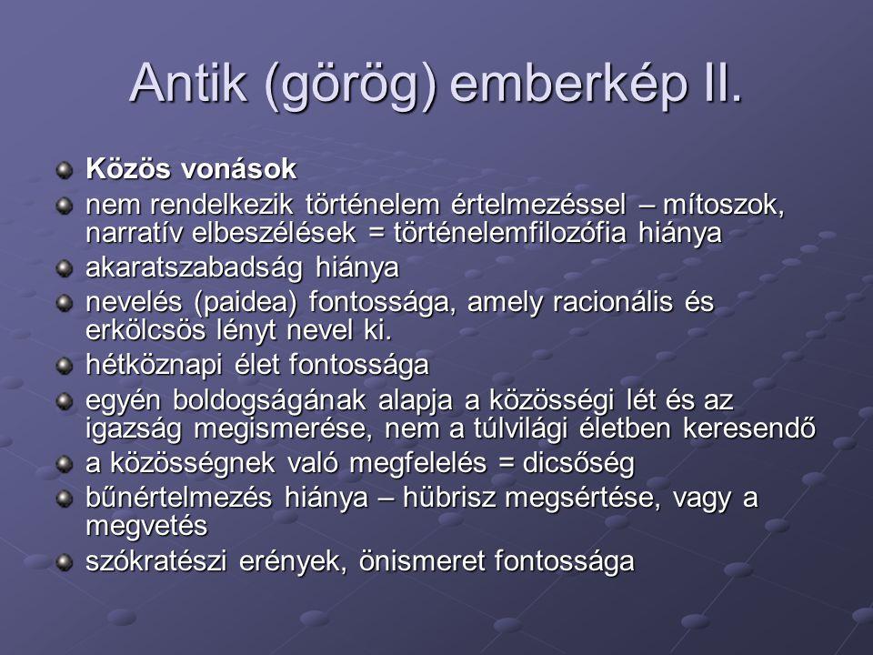 Antik (görög) emberkép II.
