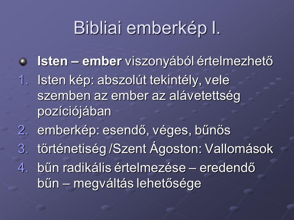 Bibliai emberkép I. Isten – ember viszonyából értelmezhető