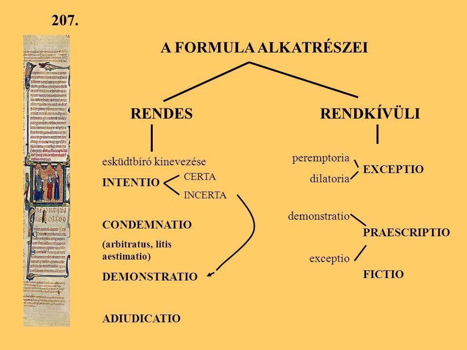 207. A FORMULA ALKATRÉSZEI RENDES RENDKÍVÜLI peremptoria
