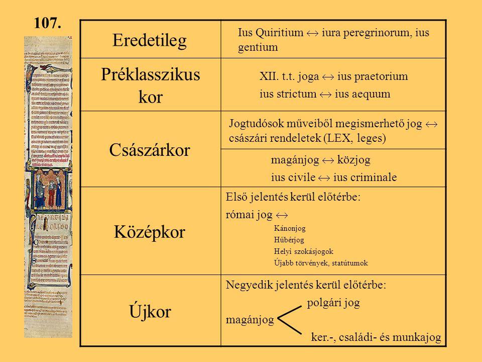 Eredetileg Préklasszikus kor Császárkor Középkor Újkor 107.