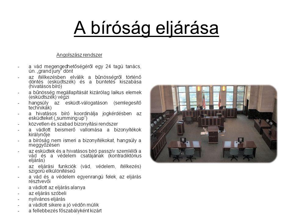 A bíróság eljárása Angolszász rendszer