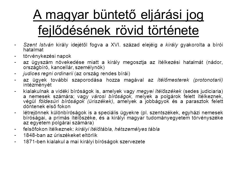 A magyar büntető eljárási jog fejlődésének rövid története