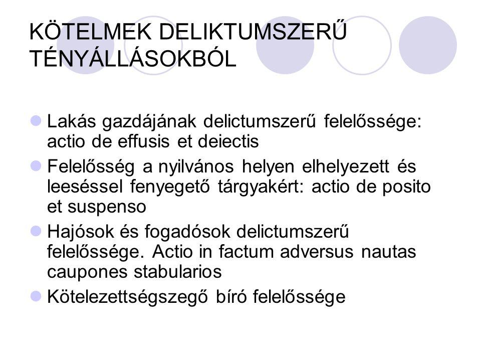 KÖTELMEK DELIKTUMSZERŰ TÉNYÁLLÁSOKBÓL