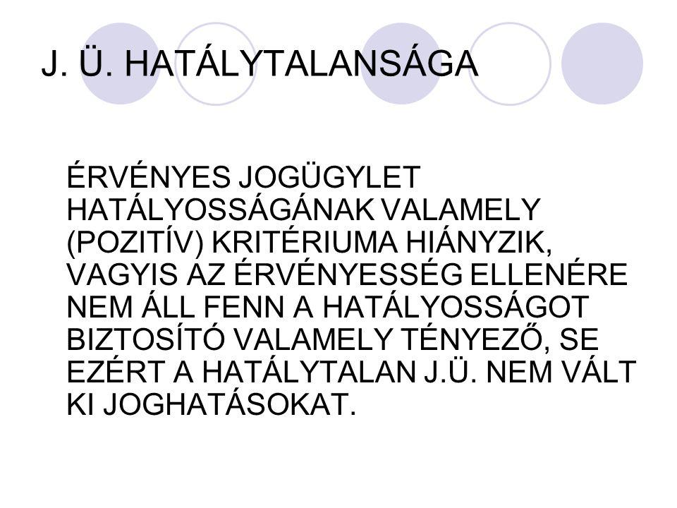 J. Ü. HATÁLYTALANSÁGA