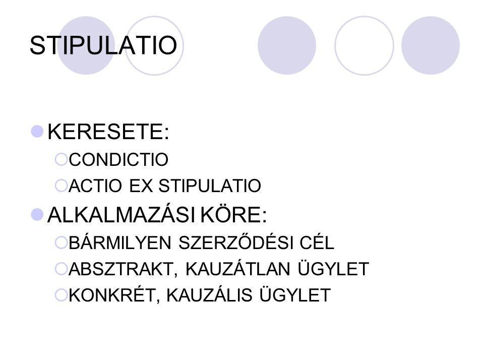 STIPULATIO KERESETE: ALKALMAZÁSI KÖRE: CONDICTIO ACTIO EX STIPULATIO