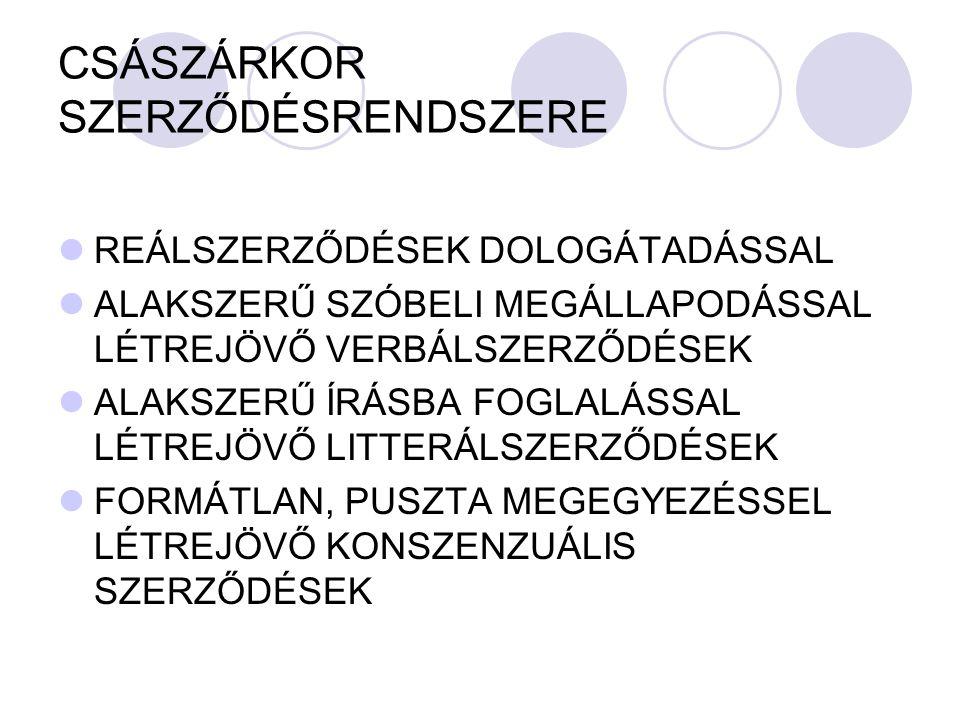CSÁSZÁRKOR SZERZŐDÉSRENDSZERE
