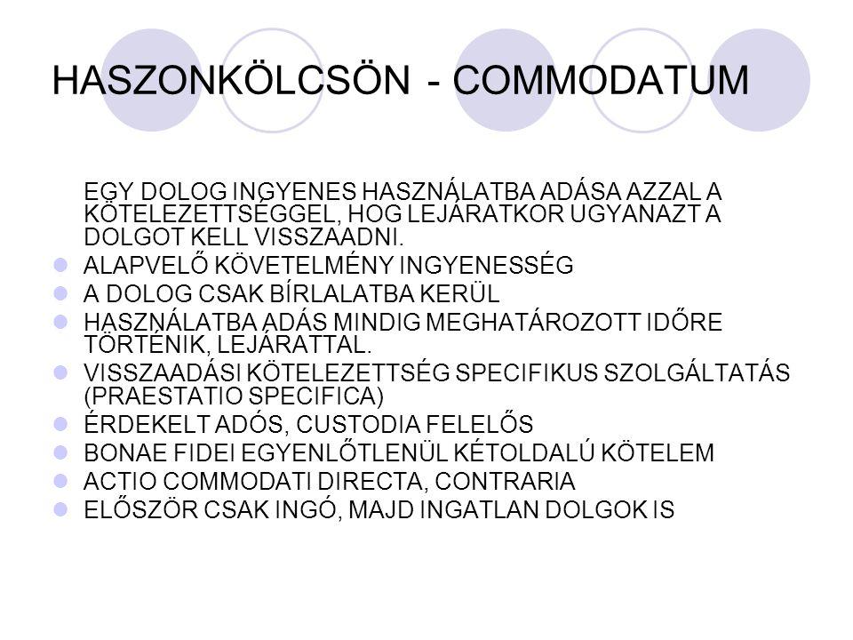 HASZONKÖLCSÖN - COMMODATUM